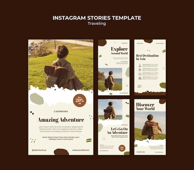 Coleção de histórias do instagram com criança viajando mochila