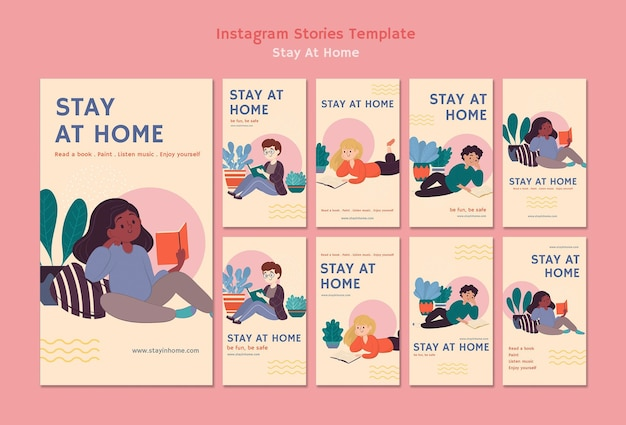 Coleção de histórias do instagram com estadia em casa durante a pandemia