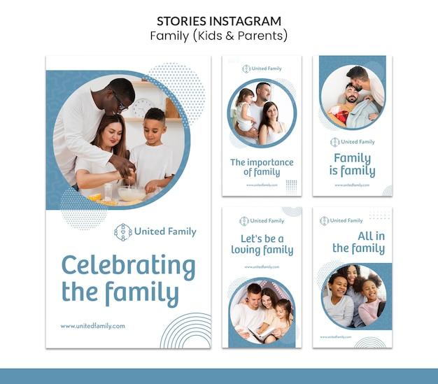 Coleção de histórias do instagram com família e crianças