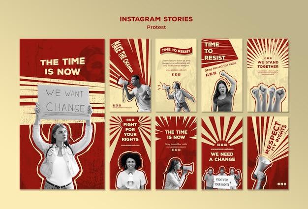 Coleção de histórias do instagram com protestos por direitos humanos