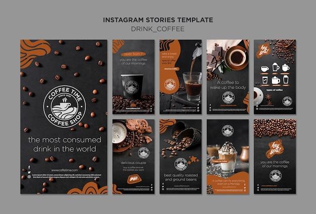 Coleção de histórias do instagram de café