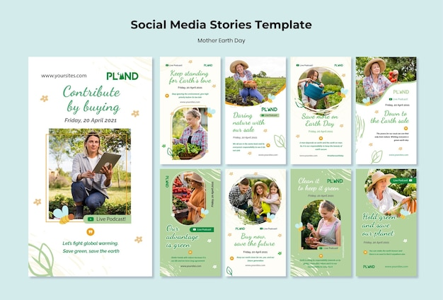 Coleção de histórias do instagram de celebração do dia da mãe terra