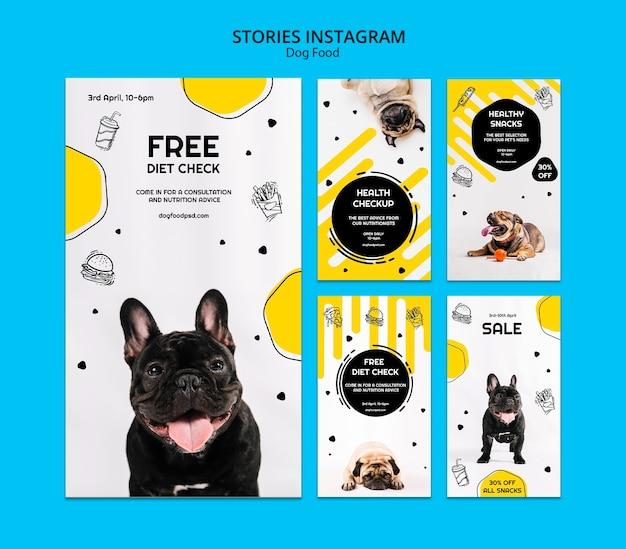 Coleção de histórias do instagram de comida de cachorro