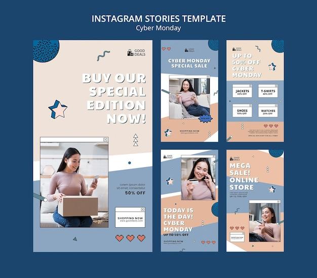 Coleção de histórias do instagram de cyber monday