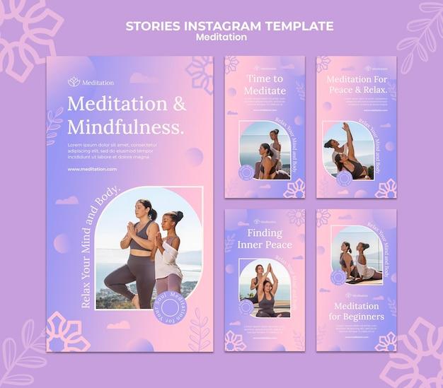 Coleção de histórias do instagram de estilo de vida de meditação