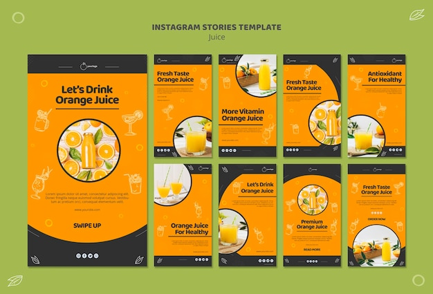 Coleção de histórias do instagram de suco de laranja