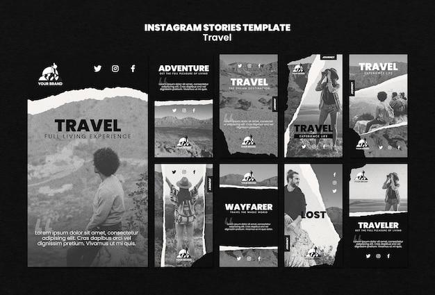 Coleção de histórias do instagram de viagens