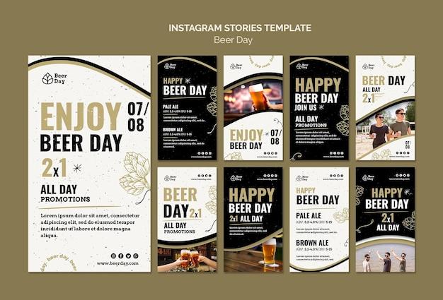 Coleção de histórias do instagram do dia da cerveja