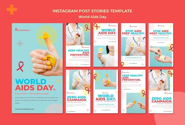 Coleção de histórias do instagram do dia mundial da aids