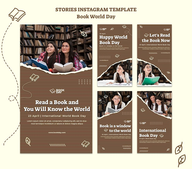 Coleção de histórias do instagram do dia mundial do livro