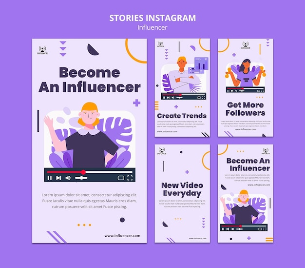Coleção de histórias do instagram do influenciador