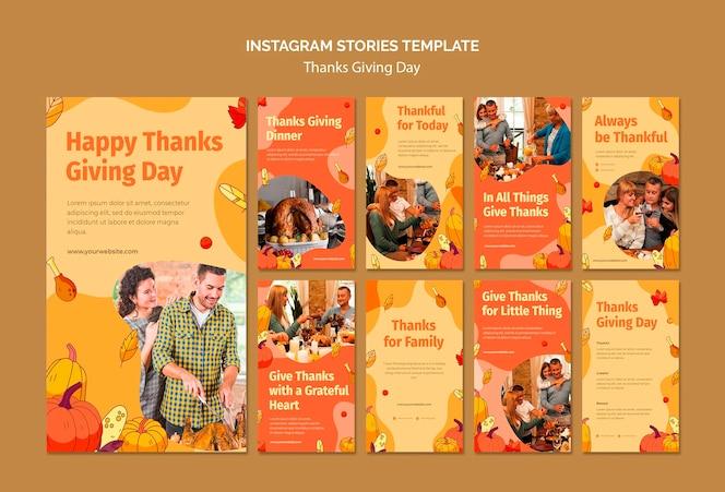 Coleção de histórias do instagram para a celebração do dia de ação de graças