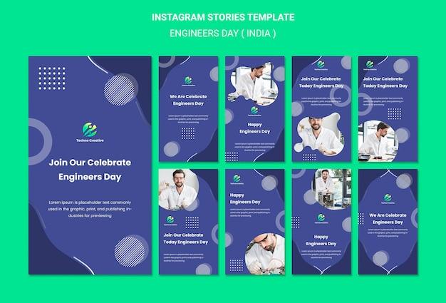 Coleção de histórias do instagram para a celebração do dia dos engenheiros