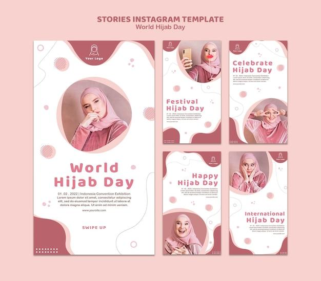 Coleção de histórias do instagram para a celebração do dia mundial do hijab
