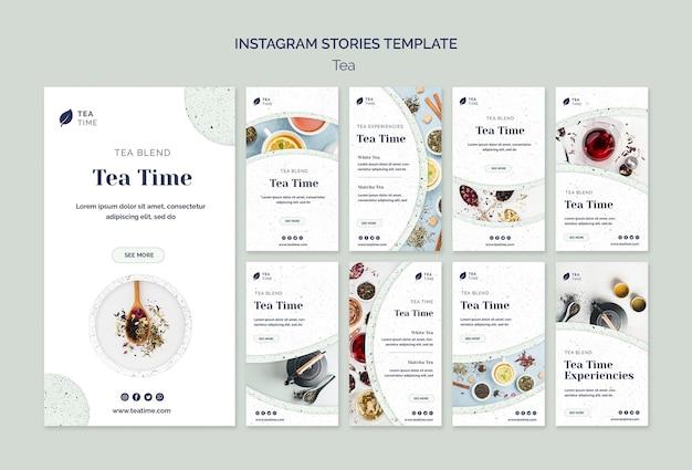 Coleção de histórias do instagram para a hora do chá