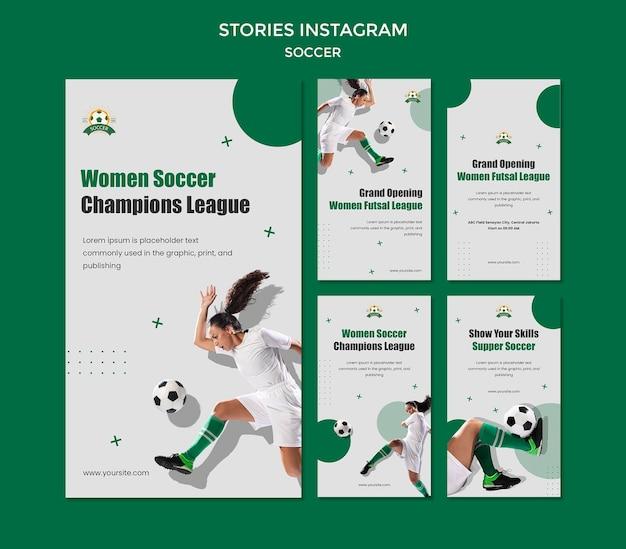 Coleção de histórias do instagram para a liga de futebol feminino