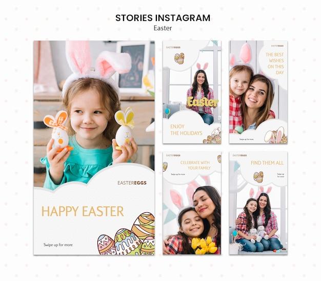 Coleção de histórias do instagram para a páscoa