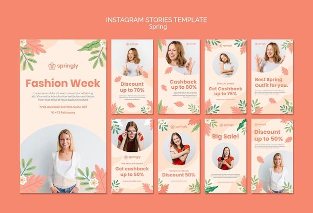 Coleção de histórias do instagram para a semana de moda da primavera