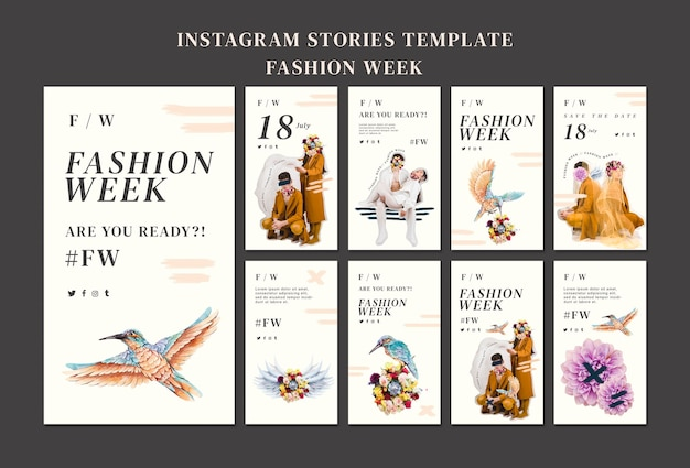 Coleção de histórias do instagram para a semana de moda