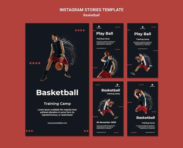 Coleção de histórias do instagram para acampamento de treinamento de basquete