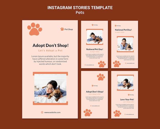 Coleção de histórias do instagram para adoção de animais de estimação