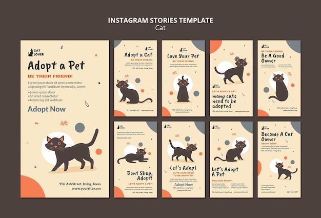 Coleção de histórias do instagram para adoção de gatos