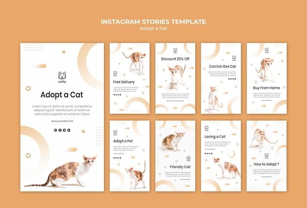 Coleção de histórias do instagram para adotar um animal de estimação