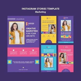 Coleção de histórias do instagram para agência de marketing criativo
