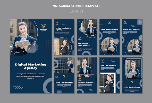 Coleção de histórias do instagram para agência de marketing digital