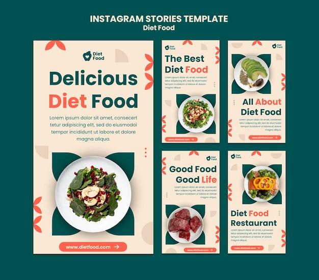 Coleção de histórias do instagram para alimentos dietéticos