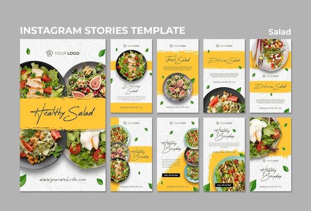 Coleção de histórias do instagram para almoço de salada saudável