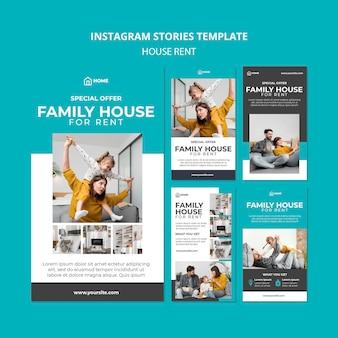 Coleção de histórias do instagram para aluguel de casa de família