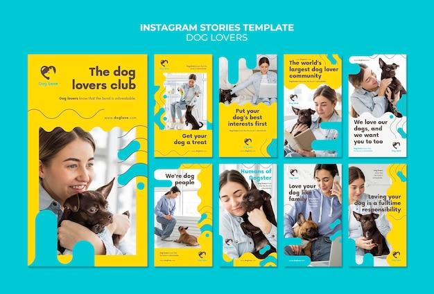 Coleção de histórias do instagram para amantes de cães com dona