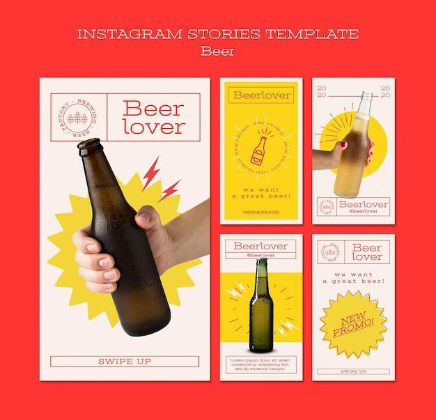 Coleção de histórias do instagram para amantes de cerveja