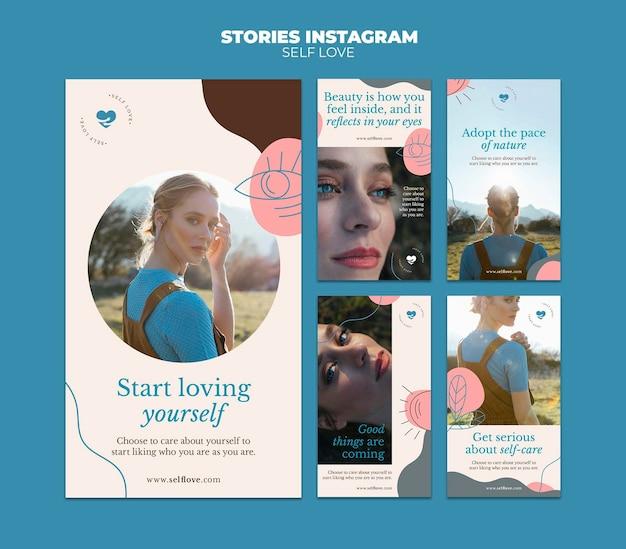 Coleção de histórias do instagram para amor próprio e aceitação