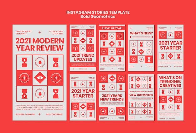 Coleção de histórias do instagram para análises e tendências de ano novo