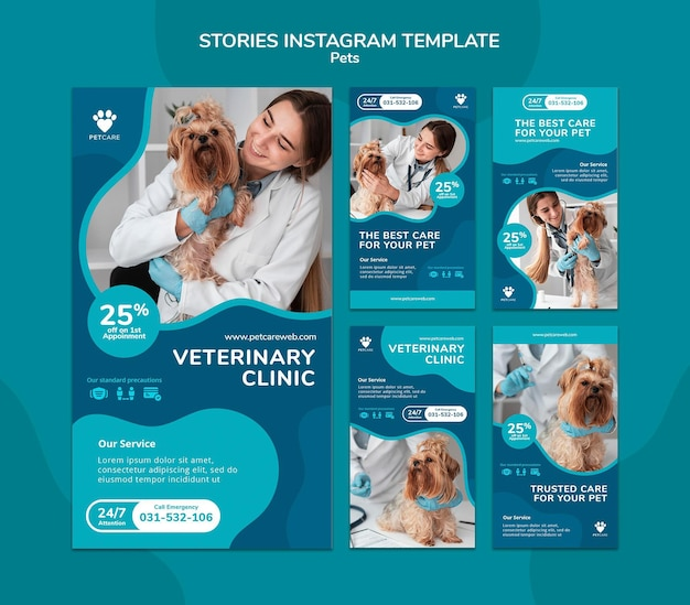 Coleção de histórias do instagram para animais de estimação com cadela veterinária e yorkshire terrier
