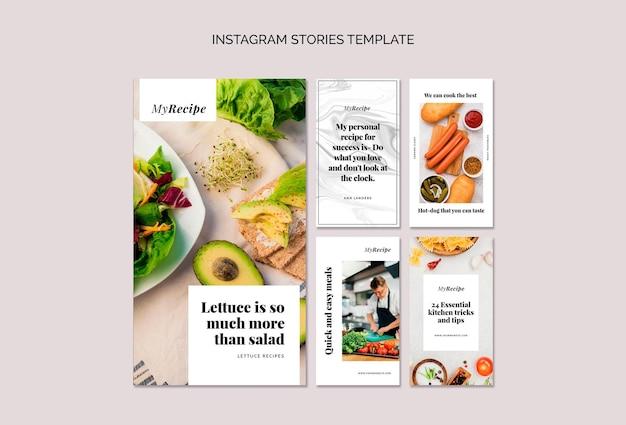 Coleção de histórias do instagram para aprender a cozinhar receitas