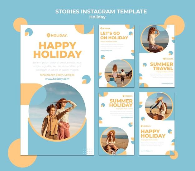Coleção de histórias do instagram para as férias de verão
