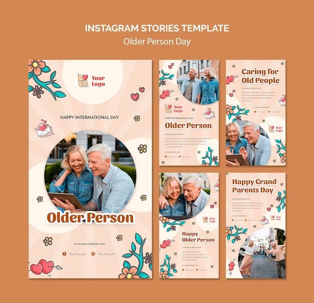 Coleção de histórias do instagram para assistência e cuidados a idosos Psd grátis