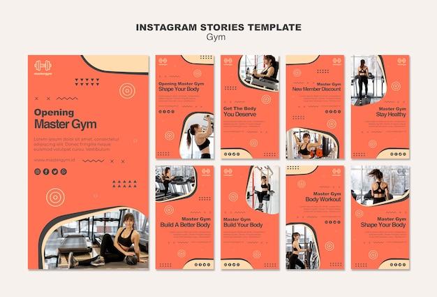 Coleção de histórias do instagram para atividades de ginástica
