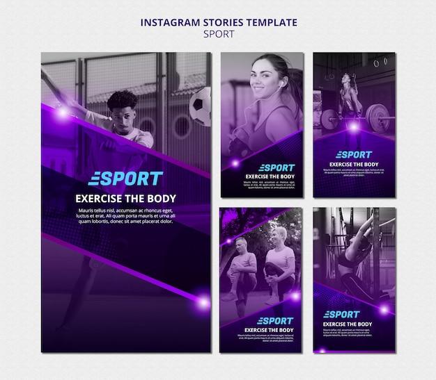 Coleção de histórias do instagram para atividades esportivas