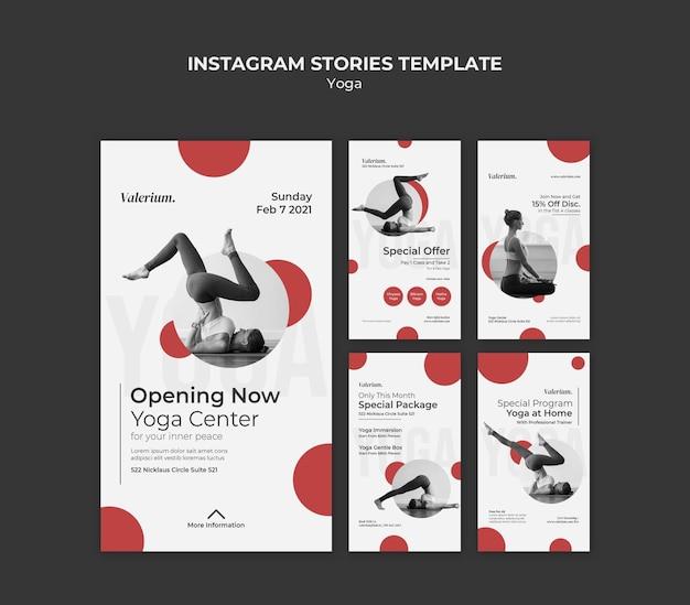 Coleção de histórias do instagram para aula de ioga com instrutora