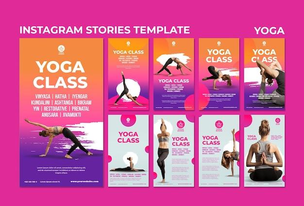 Coleção de histórias do instagram para aula de ioga com mulher Psd Premium