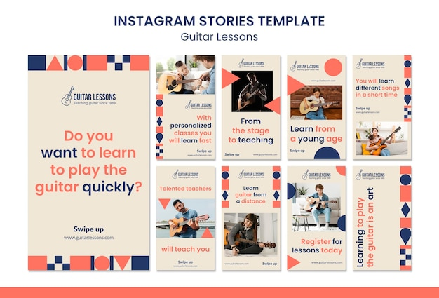 Coleção de histórias do instagram para aulas de guitarra