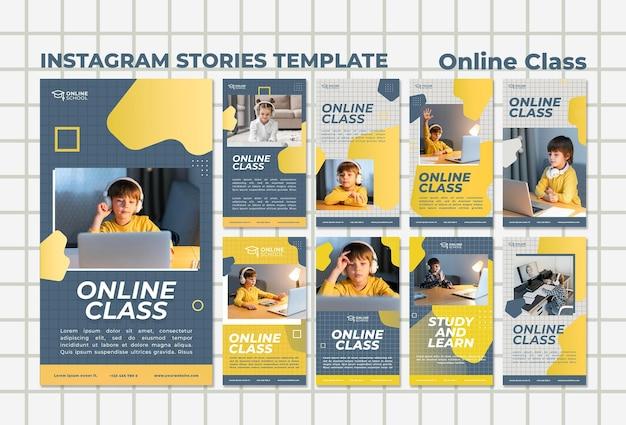 Coleção de histórias do instagram para aulas online com crianças