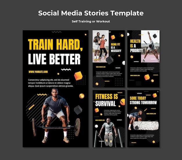 Coleção de histórias do instagram para autotreinamento e exercícios