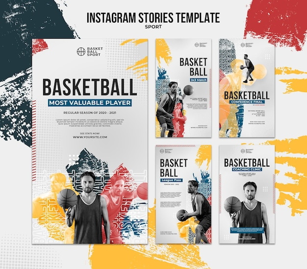 Coleção de histórias do instagram para basquete com jogador