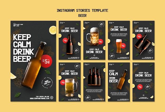 Coleção de histórias do instagram para beber cerveja