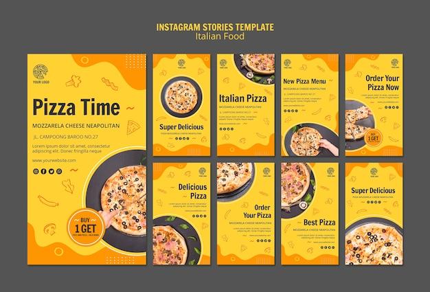 Coleção de histórias do instagram para bistrô de comida italiana
